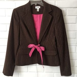 Lilly Pulitzer brown pink wool blazer size xs